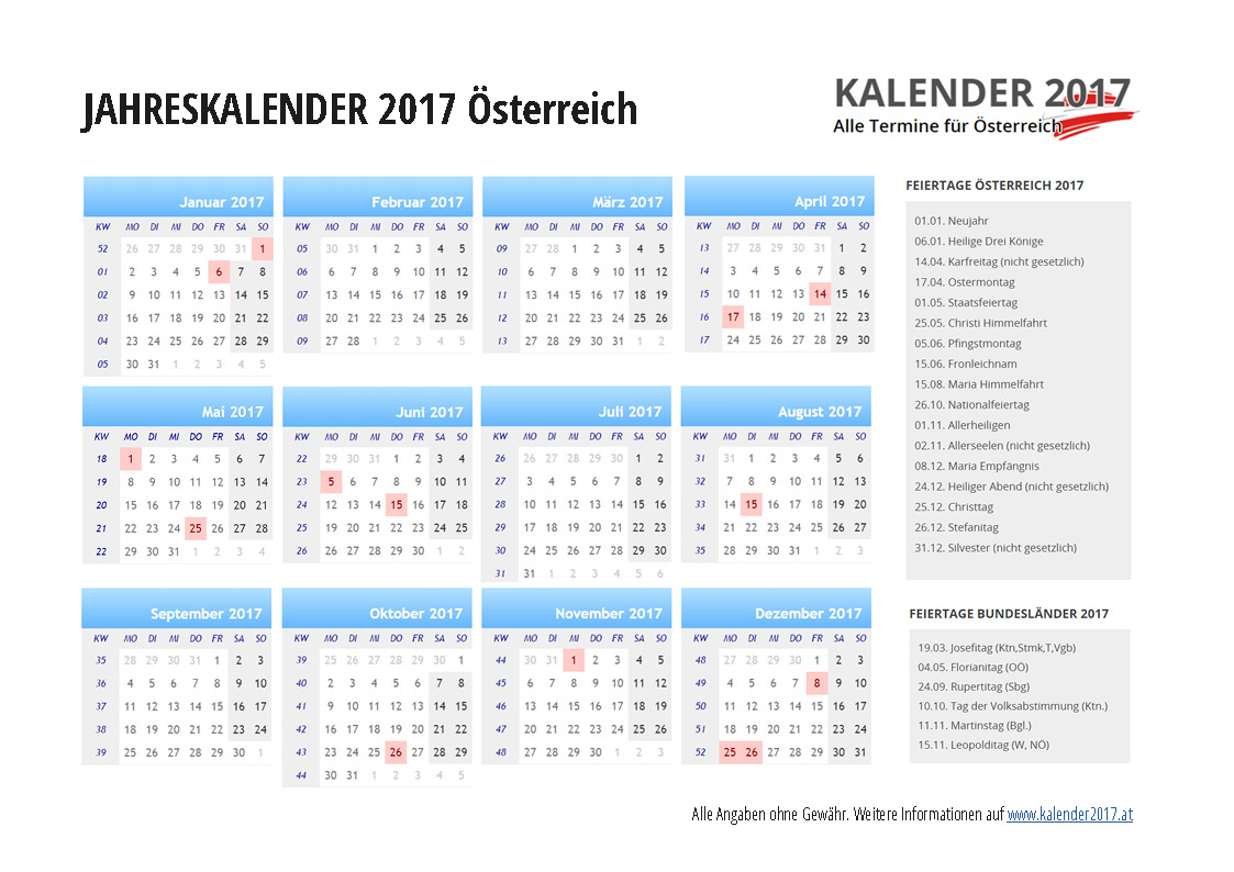 Kalender 2017 Oesterreich Related Keywords & Suggestions - Kalender ...